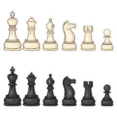 Vector Set of Cartoon Chess Figures