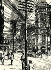 Broadway, New York (Harpers Weekly caricature 1899)