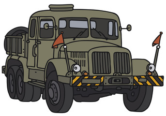 Old miliary towing vehicle, vector illustration