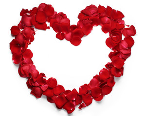 Heart of red rose petals