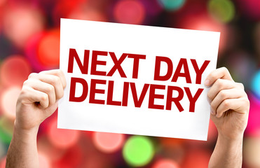 Next Day Delivery card with colorful background