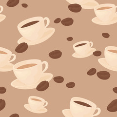 Seamless coffee bean background.