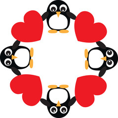 a frame of penguins and hearts