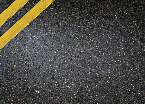 Asphalt texture yellow road line