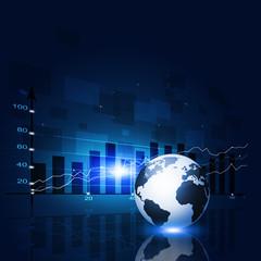 Market Finance Diagram Blue Background