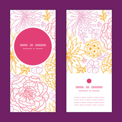 Vector flowers outlined vertical round frame pattern invitation