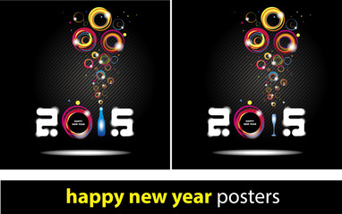 New year 2015 in black background Abstract poster