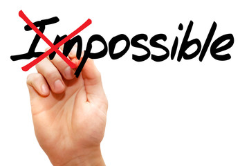 Turning the word Impossible into Possible, business concept