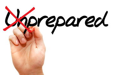 Turning the word Unprepared into Prepared, business concept