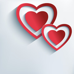 Stylish background with red paper 3d hearts