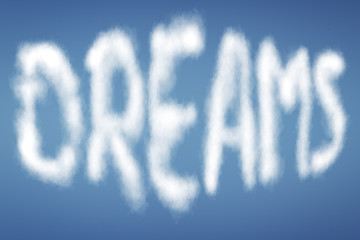 clouds with text DREAMS