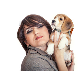 Lady with cute beagle puppy