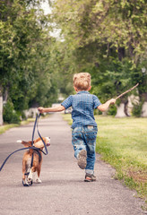 Wall Mural - Little boy playing with his beagle puppy