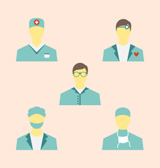 Icons set of medical employees in modern flat design style