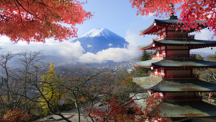 Keuken foto achterwand Tokyo Image of the sacred mountain of Fuji in the background of blue s