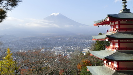Photo sur Aluminium Japon Image of the sacred mountain of Fuji in the background of blue s