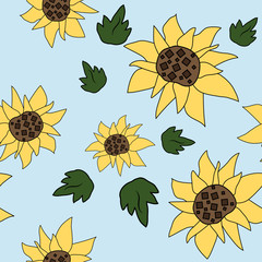 Beautiful summer sunflower pattern on blue background