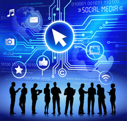 Silhouettes of Business People and Social Media Concept