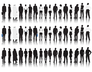 Vector Multi-ethnic Business People Rear View Concept