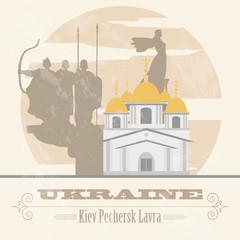 Ukraine landmarks. Retro styled image