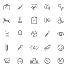 Medical line icons on white background