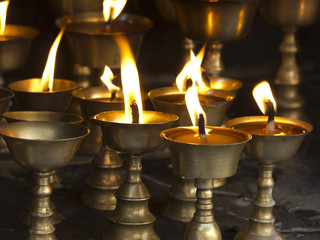 Candles in the Buddhist temple of Nepal