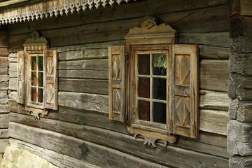 Old window in wooden house