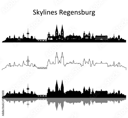 skyline regensburg stockfotos und lizenzfreie vektoren auf bild 76142658. Black Bedroom Furniture Sets. Home Design Ideas
