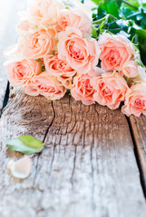 Bouquet of Pink Roses with Copy Space on image