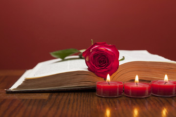 Fototapete - Red rose on the book with candles near