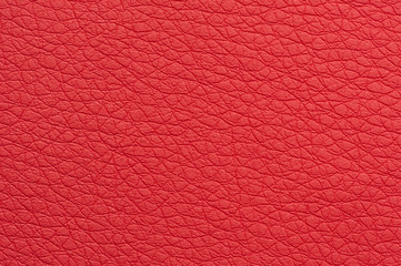 Scarlet Red Artificial Leather Background Texture Close-Up