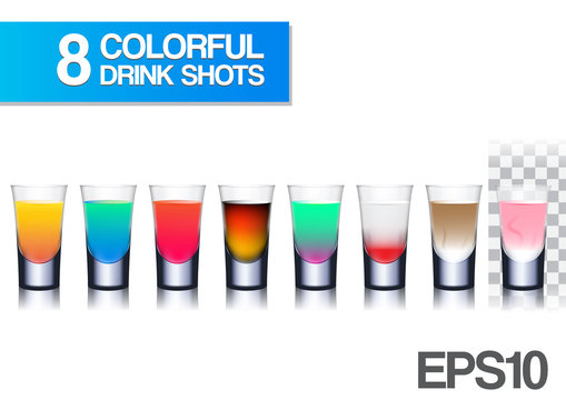 realistic colorful drink shots vector