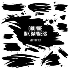 vector set of black grunge spots