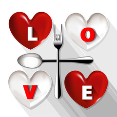 Vector of red and white plate in shape of heart with LOVE word o