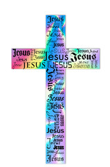 A cross with bright colors