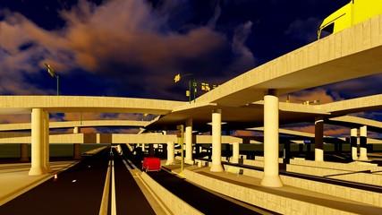 Under the highway. Urban scene