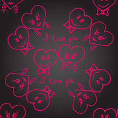 Seamless. Hand-drawn hearts for valentines day. Vector