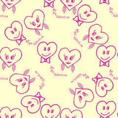Seamless pattern. Hand-drawn hearts for valentines day. Vector