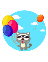 cute raccoon withcolorful balloons
