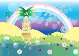 Vector illustration of rainbow in oasis