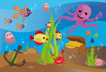 Poster Submarine Illustration sea life