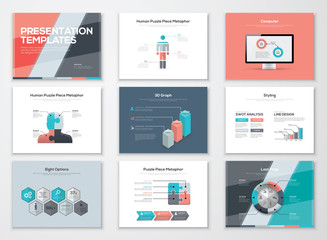 Business presentation brochures and infographic vector elements