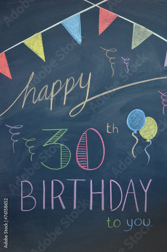 HAPPY 30th BIRTHDAY Chalkboard Card Invitation