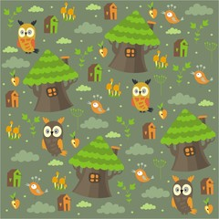 owl pattern forest