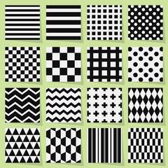 Black and white geometrical seamless patterns set
