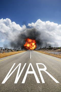 road with text WAR