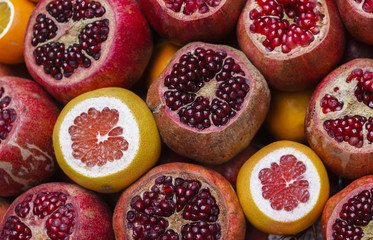 Ripe pomegranates and grapefruits