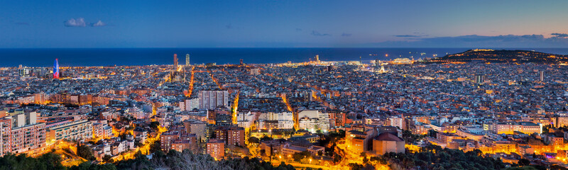 Panorama of Barcelona at dawn