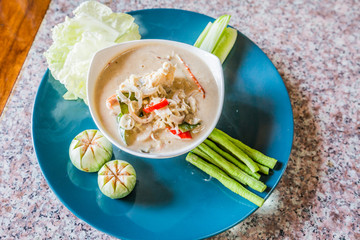 salted crab in Coconut Milk served with Fresh Vegetables,Lon Phu