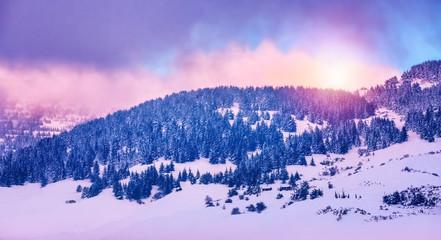 Printed kitchen splashbacks Purple Winter mountains landscape